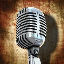 Naklejka samoprzylepna retro mikrofon z grunge tłem