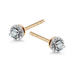 Staviori Kolczyki. 2 Diamenty, szlif brylantowy, masa 0,16 ct., barwa H-I, czystość SI1-SI2. Żółte Złoto 0,585. Średnica 4 mm.