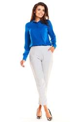 Szare klasyczne spodnie damskie na gumie