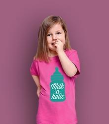 Milk-a-holic t-shirt dziecięcy różowy 146