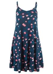 Sukienka z dżerseju w kwiaty bonprix ciemnoniebieski z nadrukiem