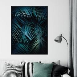 Plakat w ramie - palms night , wymiary - 70cm x 100cm, ramka - czarna , ramka - biała