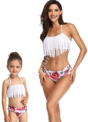 Bikini z frędzelkami w kwiaty, mama i córka