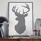 Jelonek skandynawski - plakat , wymiary - 18cm x 24cm, ramka - biała
