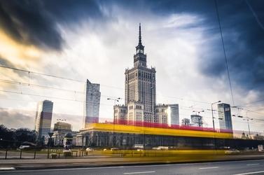 Warszawa panorama miasta w ruchu - plakat premium wymiar do wyboru: 120x90 cm