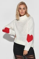 Sweter z golfem i serduszkami na rękawach - ecru