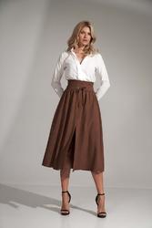 Rozkloszowana spódnica do połowy łydki z rozcięciem- brązowy