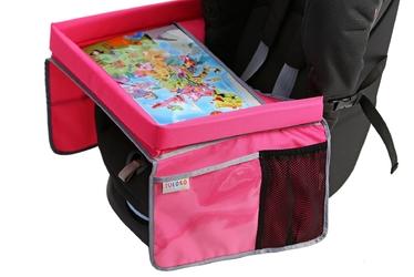 Bezpieczny stolik podróżnika + edukacyjna mapa świata - różowy