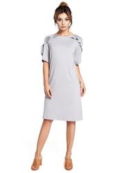 Luźna krótka sukienka z krótkim rękawem z falbankami szara b035