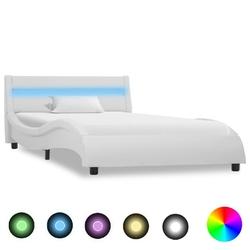 Vidaxl rama łóżka z led, biała, sztuczna skóra, 90 x 200 cm