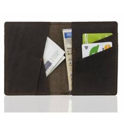 Skórzany męski portfel slim wallet brodrene sw07 ciemny brąz