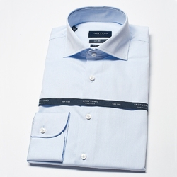 Elegancka błekitna extra długa koszula męska taliowana, slim fit z włoskim kołnierzykiem 46