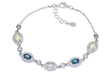 Srebrna bransoletka z topazem opalem i cyrkoniami