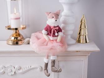 Dekoracja świąteczna  ozdoba pluszowa na boże narodzenie altom design lisica 43 cm różowa