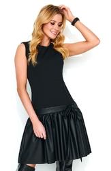 Sukienka z Obniżoną Talią z Falbanką z Eko-Skórą