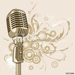 Obraz na płótnie canvas trzyczęściowy tryptyk vintage mikrofon
