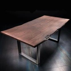 Stół catania obrzeża ciosane orzech, 220x100 cm grubość 5,5 cm