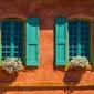 Turkusowe okiennice - plakat premium wymiar do wyboru: 84,1x59,4 cm