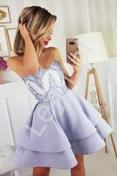Szara sukienka na wesele z tiulowymi ramiączkami  2138