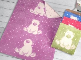 Kocyk dla dzieci sweet bear greno, 5 kolorów lawenda 100 x 150