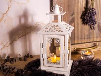 Latarenka  latarnia  lampion ozdobny wiszący metalowy altom design biała 25,5 cm