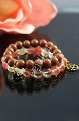 Bransoletka z kamieni naturalnych - kwarc arbuzowy 10mm,  kamienie naturalne, hand made