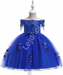 Dziecięca sukienka tiulowa z dekoltem carmen w kolorze królewskim niebieskim 057