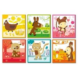 Klocki puzzle 6w1 zwierzęta - kolory janod