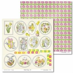 Papier ozdobny z tagami wielkanocnymi Easter Bunny 30,5x30,5 cm - 01