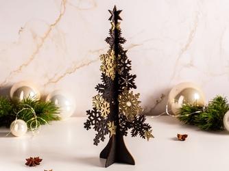 Figurka  dekoracja świąteczna  ozdoba drewniana ażurowa na boże narodzenie altom design choinka czarno-złota 30 cm
