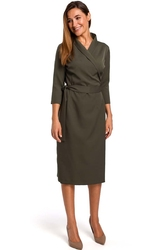 Khaki dopasowana kopertowa sukienka wiązana na boku