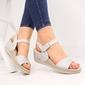 Sandały damskie na koturnie na rzep srebrne t.sokolski