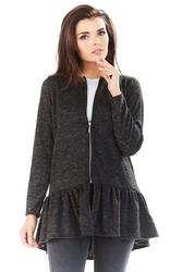 Grafitowy długi sweter na suwak z falbanką