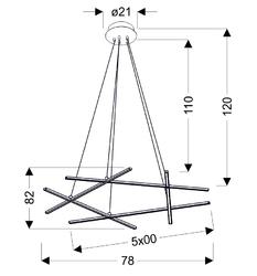 Lampa wisząca pięć listew led ułożone w pięciobok andros apeti a0020-350
