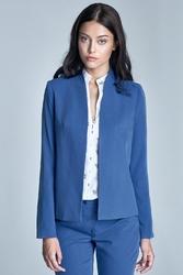 Elegancki niebieski żakiet bez zapięcia