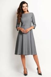 Szara klasyczna sukienka midi z rękawem 34