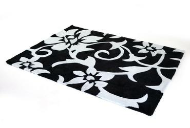 Dywan w kwiaty - 160cm x 230cm - czarno-biały