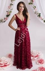 Suknia wieczorowa burgundowa zdobiona brokatem 2085