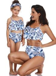 Białe bikini mama córka z niebieskimi listkami i kokosami