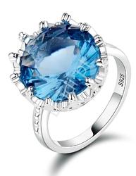 Posrebrzany pierścionek  damski z dużym oczkiem s 925 , szafir
