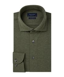 Elegancka zielona koszula męska z dzianiny slim fit 42