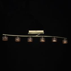 Złota lampa sufitowa z reflektorami led w drewnianej obudowie regenbogen 725011006