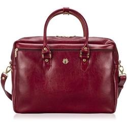 Skórzana torba damska na laptopa solier fg05 czerwona - czerwony