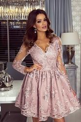 Sukienki na wesele,  koronkowa, pudrowy róż - amelia