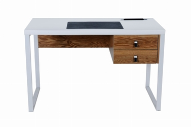 Designerskie biurko 120 x 60 z elementami imitującymi drewno - dwie szuflady - bella