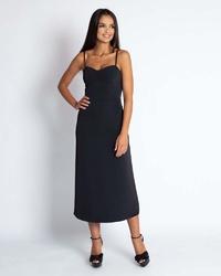 Czarna midi sukienka na cienkich ramiączkach