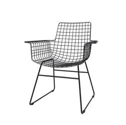 HK Living :: Krzesło metalowe WIRE czarne z podłokietnikami