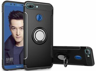 Etui pancerne Alogy Huawei Honor 9 Lite Ring czarne + Szkło