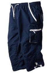 Spodnie 34 z mikrofazy, z gumką w talii bonprix ciemnoniebieski