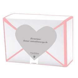 Kawowa przesyłka z sercem – różowa 18 smaków x 10g - prezent upominek dla zakochanych z kawą aromatyzowana smakową
